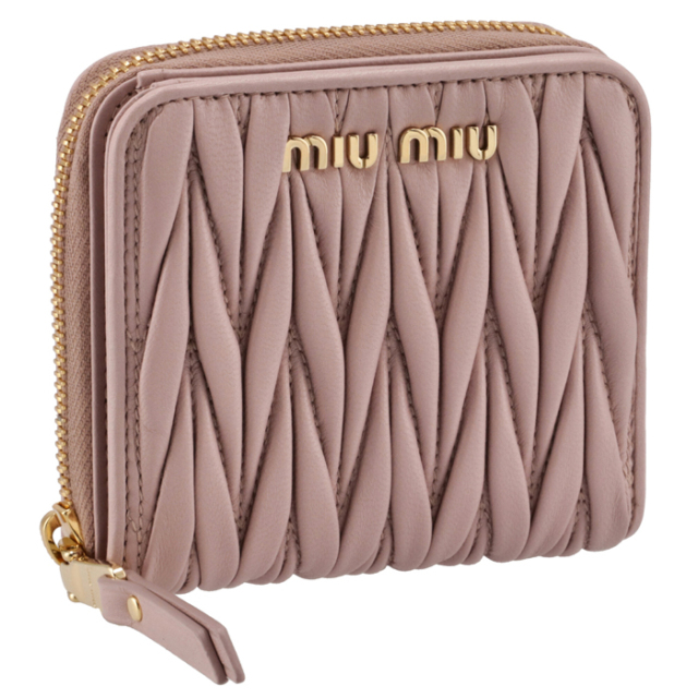 ミュウミュウ MIU MIU 2021年秋冬新作 財布 二つ折り マテラッセ ミニウォレット ピンク系 5ML522 N88 D91