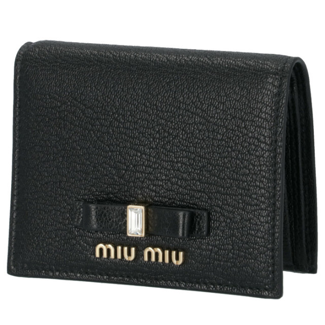 ミュウミュウ MIU MIU 財布 二つ折り マドラス リボン ミニ財布 ブラック 5MV204 2D7A 002