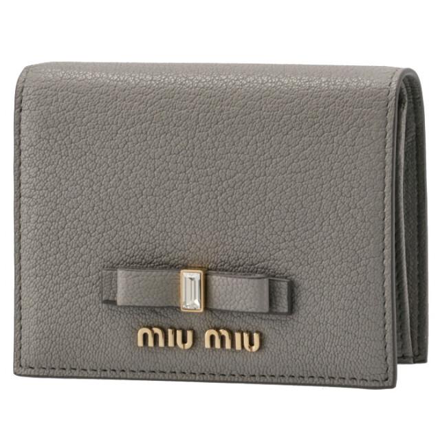 ミュウミュウ MIU MIU 2021年秋冬新作 財布 二つ折り マドラス リボン ミニ財布 グレー系 5MV204 2D7A 424