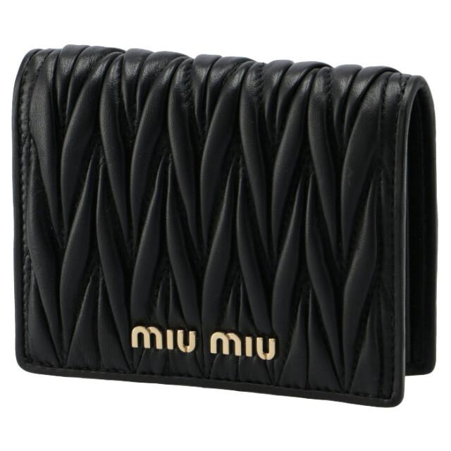 ミュウミュウ MIU MIU 2021年秋冬新作 財布 二つ折り マテラッセ ミニ財布 ブラック 5MV204 N88 002