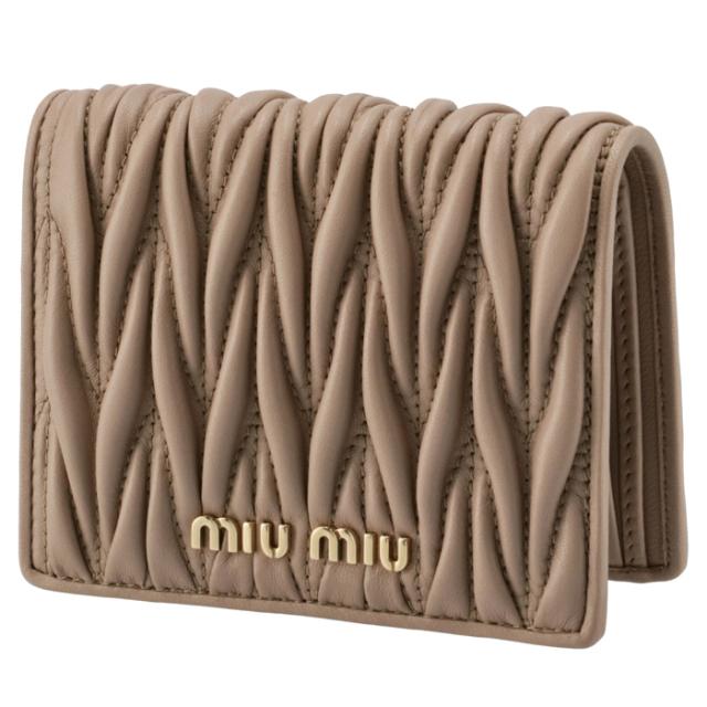 ミュウミュウ MIU MIU 2021年秋冬新作 財布 二つ折り マテラッセ ミニ財布 ベージュ系 5MV204 N88 770