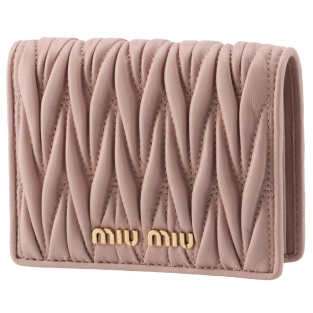 ミュウミュウ MIU MIU 2021年秋冬新作 財布 二つ折り マテラッセ ミニ財布 ピンク系 5MV204 N88 D91