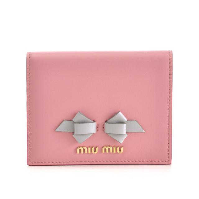 ミュウミュウ MIU MIU 2018年春夏新作 財布 リボン ミニ財布 二つ折り財布 5MV204 UEI SXY