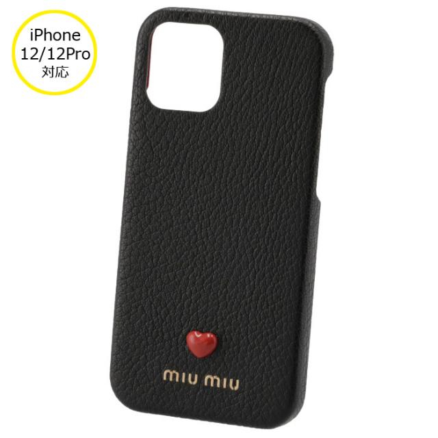 ミュウミュウ MIU MIU 2021年秋冬新作 iPhoneケース MADRAS LOVE iPhone12 12 pro スマホケース ブラック 5ZH129 2BC3 002