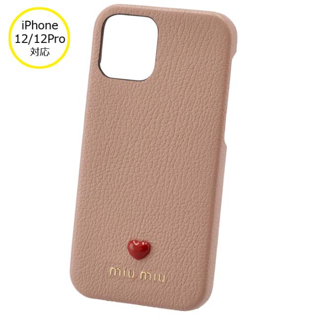 ミュウミュウ MIU MIU 2021年秋冬新作 iPhoneケース MADRAS LOVE iPhone12/12 pro スマホケース ピンクベージュ系 5ZH129 2BC3 615