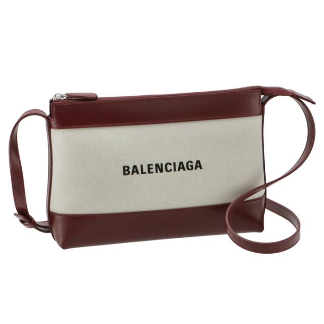 バレンシアガ BALENCIAGA ショルダーバッグ ロゴ キャンバス クロスボディバッグ ボルドー系×ホワイト 639497 2HH2N 9265