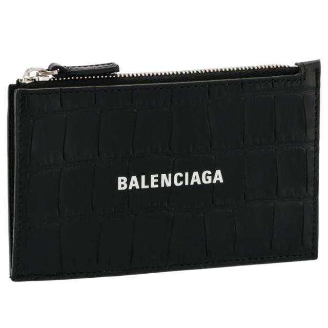 バレンシアガ BALENCIAGA 2021年秋冬新作 カードホルダー&コインケース CASH ミニ財布 フラグメントケース クロコ ブラック 640535 1ROP3 1000
