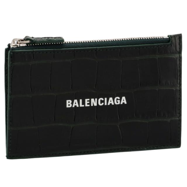 バレンシアガ BALENCIAGA 2021年秋冬新作 カードホルダー&コインケース CASH ミニ財布 フラグメントケース クロコ ダークグリーン 640535 1ROP3 3090