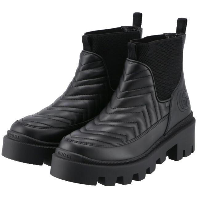 グッチ GUCCI 2021年秋冬新作 チェルシーブーツ  キルティング レザー シューズ 靴 チェルシーブーツ 643958 DH7D0 1000