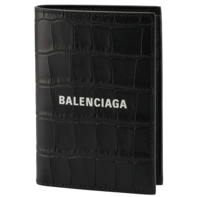 バレンシアガ BALENCIAGA 2021年秋冬新作 財布 二つ折り CASH バーティカル ウォレット ミニ財布 クロコ ブラック 655683 1ROP3 1000