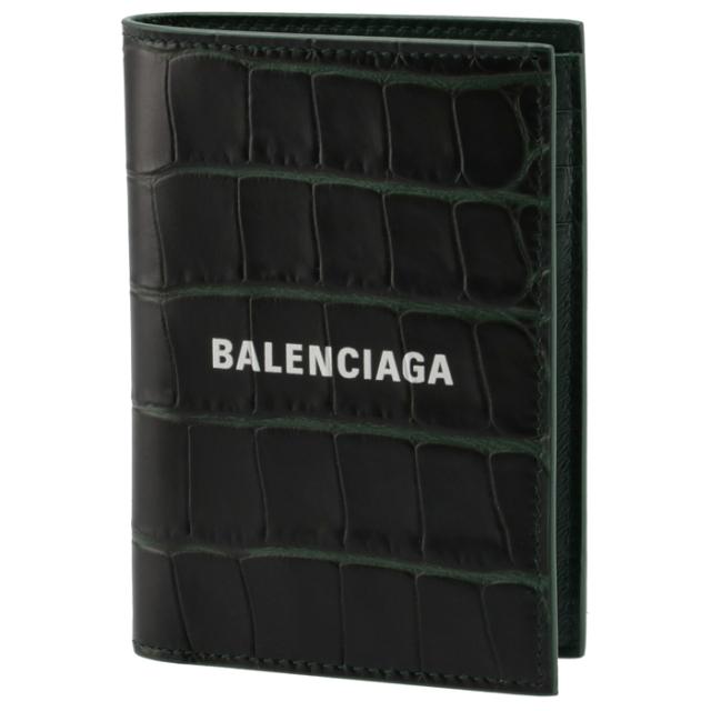 バレンシアガ BALENCIAGA 2021年秋冬新作 財布 二つ折り CASH バーティカル ウォレット ミニ財布 クロコ ダークグリーン 655683 1ROP3 3090