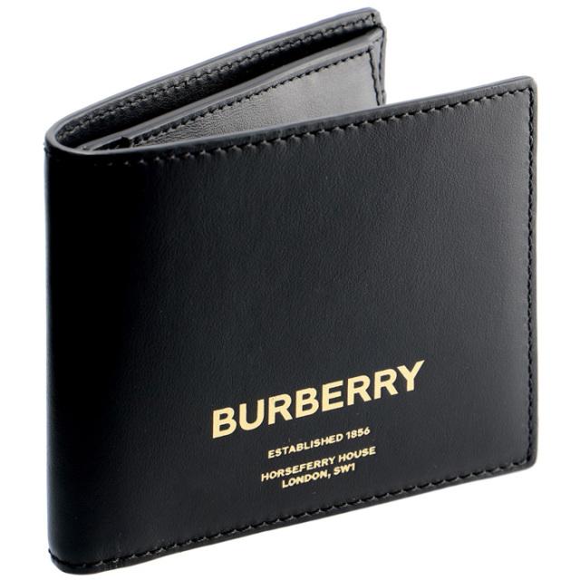 バーバリー BURBERRY 2019年秋冬新作 メンズ 財布 二つ折り ロゴプリント レザー ウォレット メンズ 二つ折り財布 8014701