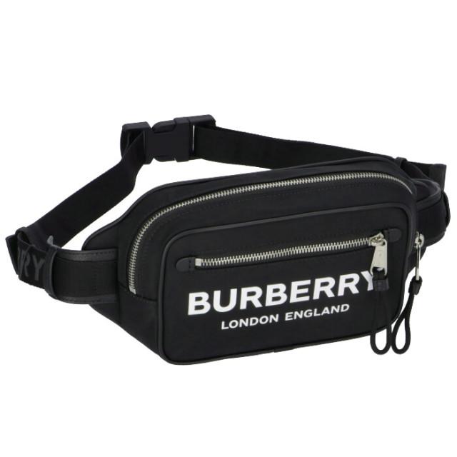 バーバリー BURBERRY 2020年春夏新作 メンズ バムバッグ ロゴプリント エコナイロン ベルトバッグ ショルダーバッグ  ブラック 8021089