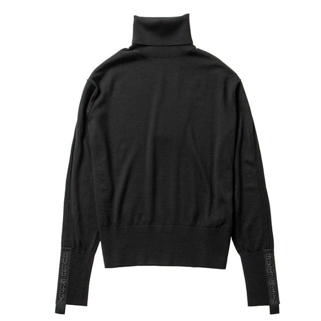 バーバリー BURBERRY 2021年秋冬新作 セーター ロゴテープ ウールシルク ロールネック ブラック 8021173