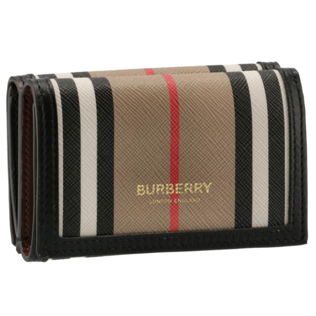 バーバリー BURBERRY 2021年秋冬新作 財布 三つ折り ストライプ ミニウォレット ミニ財布 アーカイブベージュ 8027294