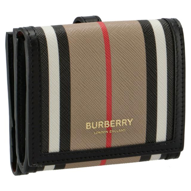 バーバリー BURBERRY 財布 二つ折り ストライプ コンパクトウォレット ベージュ系 8029619