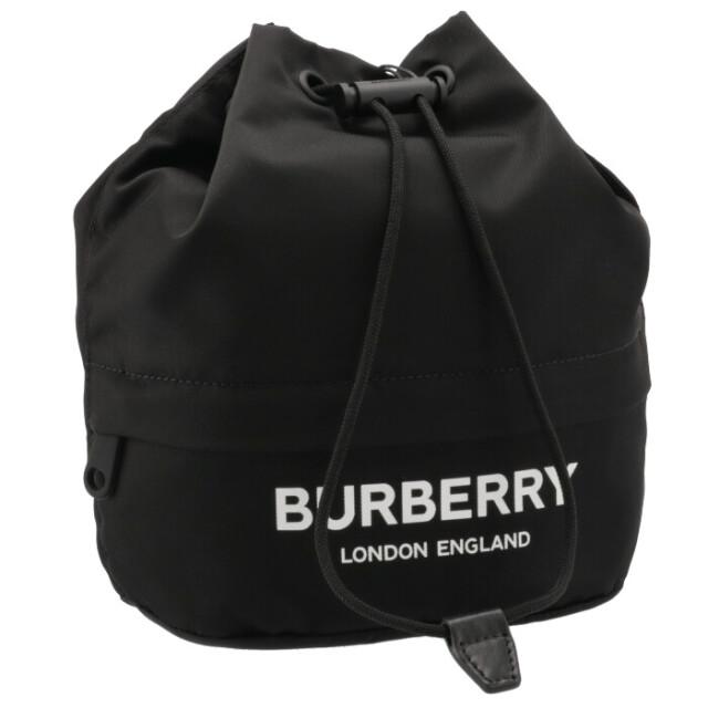 バーバリー BURBERRY 2021年秋冬新作 ドローコードポーチ ロゴプリント エコナイロン ブラック 8032188