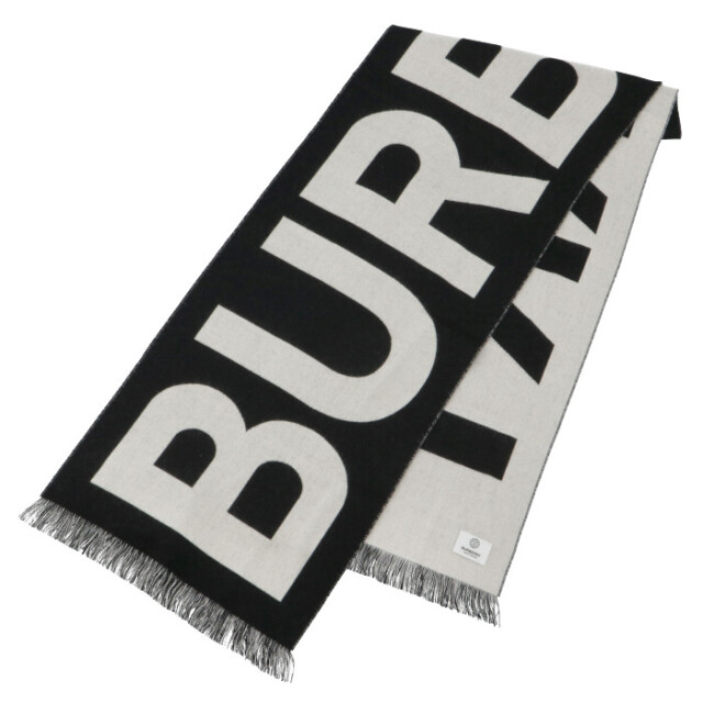 バーバリー BURBERRY 2021年秋冬新作 マフラー ロゴ ウール ジャカードスカーフ ブラック×ホワイト 8035524
