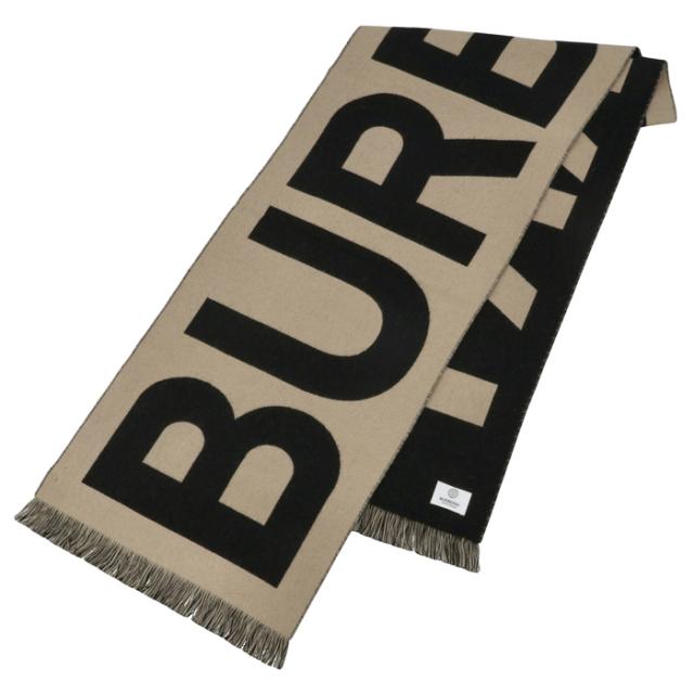 バーバリー BURBERRY 2021年秋冬新作 マフラー ロゴ ウール ジャカードスカーフ アーカイブベージュ 8035525
