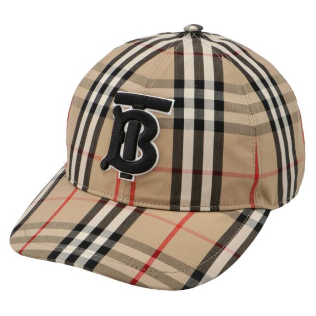 バーバリー BURBERRY 2021年秋冬新作 ベースボールキャップ モノグラムモチーフ ヴィンテージチェック 帽子 アーカイブベージュ 8038504
