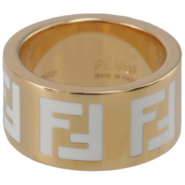 フェンディ FENDI 2021年秋冬新作 リング FFロゴ 指輪 レディース ホワイト×ゴールド 8AG945 TL9 F0A47
