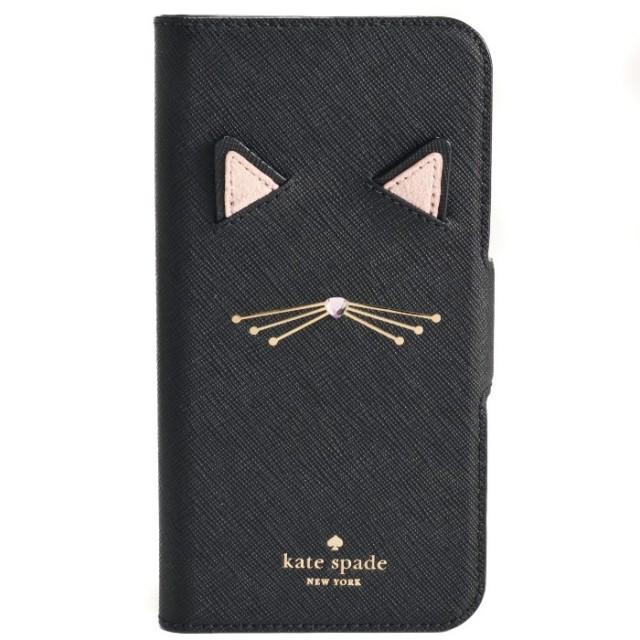 ケイトスペード KATE SPADE 2018年秋冬新作 iPhoneX 手帳型 猫 iphoneケース アイフォンケース スマホケース CAT APPLIQUE iPhoneXケース