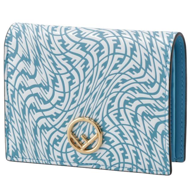 フェンディ FENDI 財布 二つ折り SUMMER VERTIGO ミニ財布 F IS FENDI ブルー系 8M0387 AGKT F1E8L