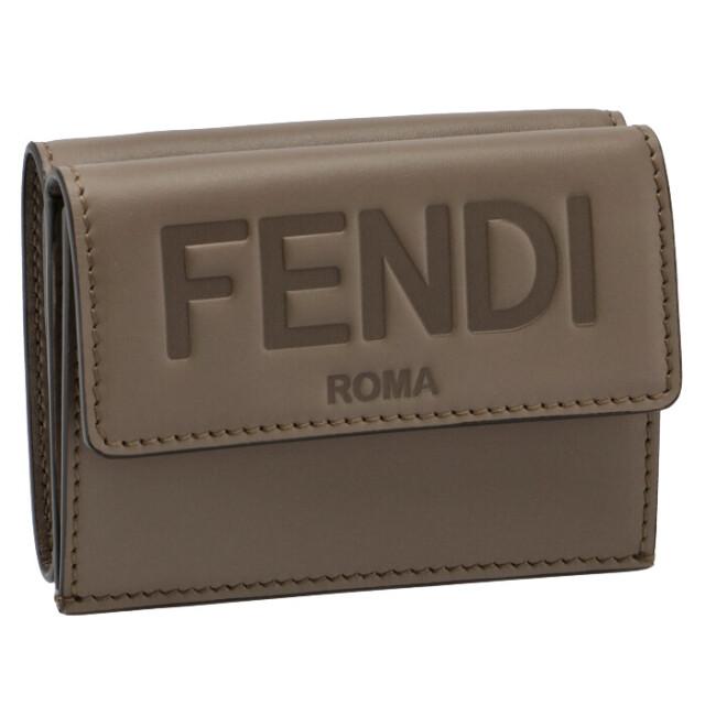 フェンディ FENDI 2021年秋冬新作 財布 三つ折り ミニ財布 FENDI ROMA ベージュグレー系 8M0395 AAYZ F1F1M