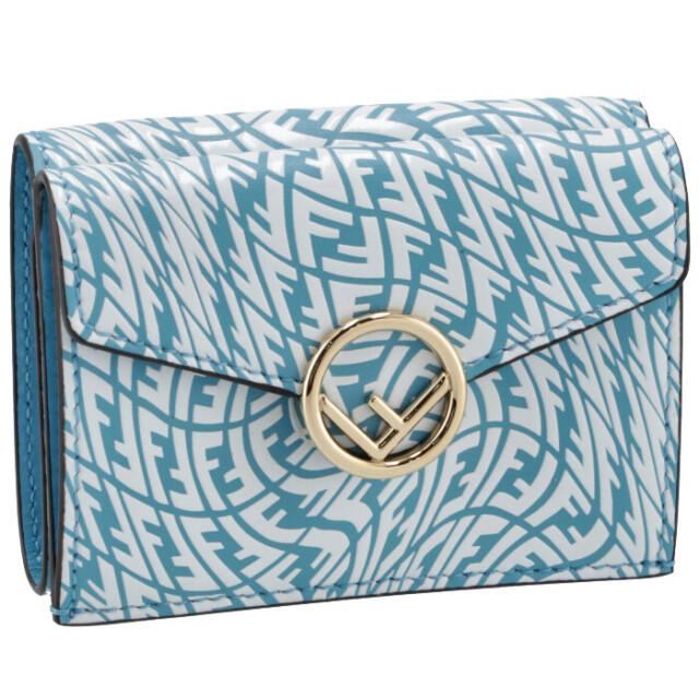 フェンディ FENDI 財布 三つ折り SUMMER VERTIGO ミニ財布 F IS FENDI ブルー系 8M0395 AGKT F1E8L