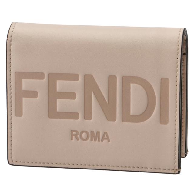 フェンディ FENDI 2021年秋冬新作 財布 二つ折り ミニ財布 FENDI ROMA アイボリー系 8M0420 AAYZ F1BA9