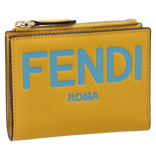 フェンディ FENDI 財布 二つ折り ミニ財布 FENDI ROMA イエロー系 8M0447 AHNI F1EEV