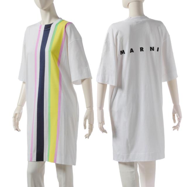 マルニ MARNI 2019年秋冬新作 ロゴ ストライプ Tシャツ 36サイズ (XS) シャツワンピース  Tシャツ カットソー ABJE0355PC SCQ21 STV35