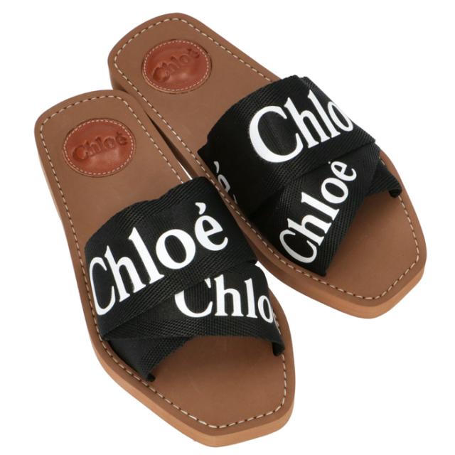 クロエ CHLOE 2020年春夏新作 WOODY キャンバス フラットサンダル ミュール シューズ 靴 サンダル CHC19U188 08 001