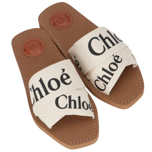 クロエ CHLOE 2020年春夏新作 WOODY キャンバス フラットサンダル ミュール シューズ 靴 サンダル CHC19U188 08 101