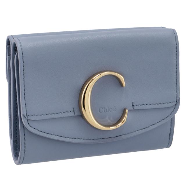 クロエ CHLOE 2021年秋冬新作 財布 三つ折り ミニ財布 Chloe' C ブルー系 CHC21SP088 E01 4C1