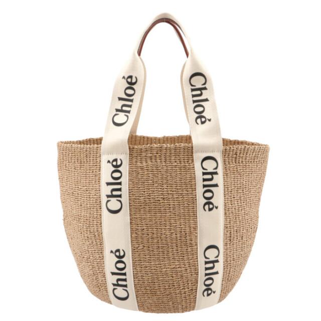 クロエ CHLOE トートバッグ WOODY LOGO ラージ バスケット リボン付き かごバッグ ハンドバッグ CHC21US380 E65 101