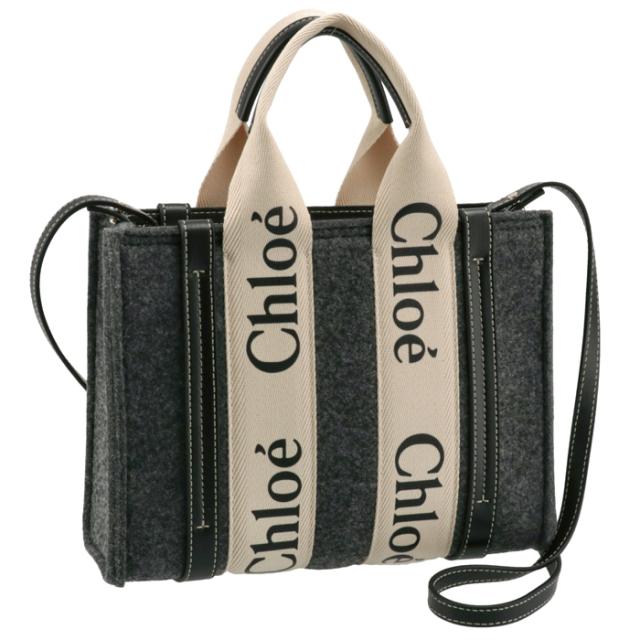 クロエ CHLOE 2021年秋冬新作 ショルダーバッグ WOODY LOGO スモール リボン付き リサイクルフェルト グレー系 CHC21WS397 F37 053