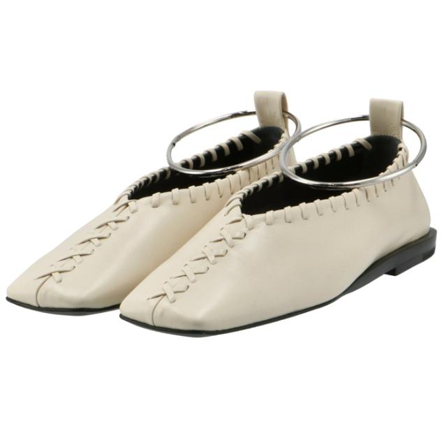 ジル サンダー JIL SANDER バレエシューズ アンクルブレスレット フラットシューズ 靴 アイボリー系 JS30217A 13041 280
