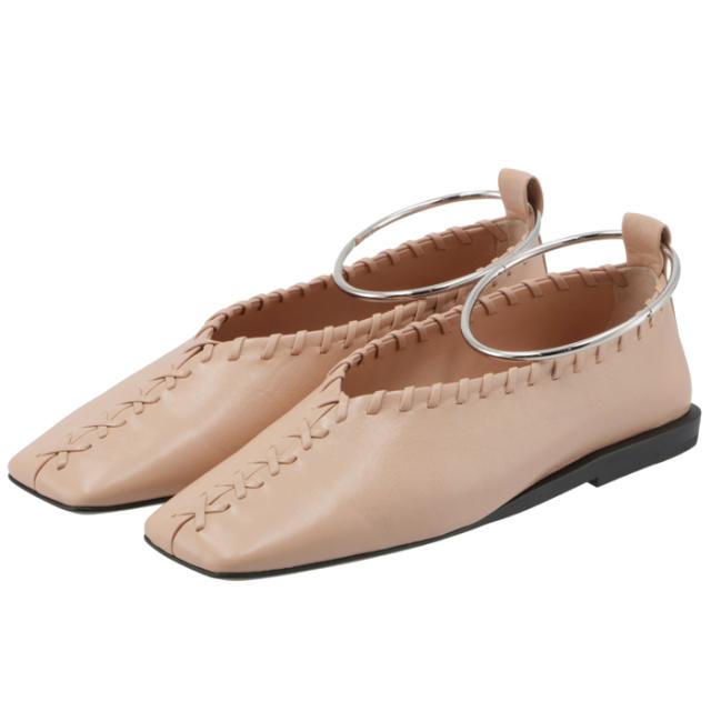 ジル サンダー JIL SANDER 2021年秋冬新作 バレエシューズ アンクルブレスレット フラットシューズ 靴 ベージュ系 JS30217A 14011 239