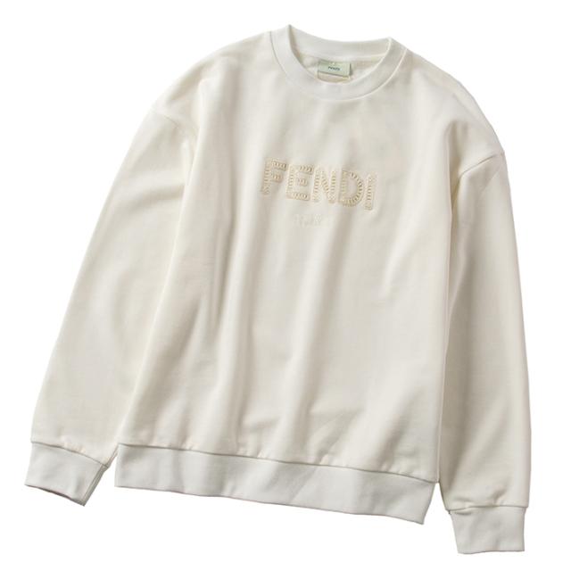 フェンディ FENDI 【大人もOK】キッズ 12+サイズ ロゴ スウェットシャツ 長袖 ホワイト JUH030 5V0 F0TU9
