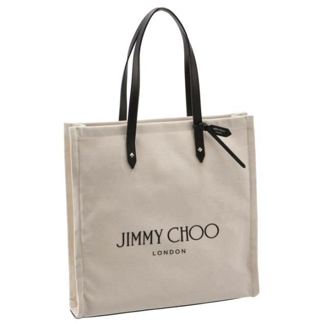 ジミーチュウ JIMMY CHOO 2021年秋冬新作 トートバッグ キャンバス LOGO TOTE アイボリー系 LOGOTOTE FFQ 0209