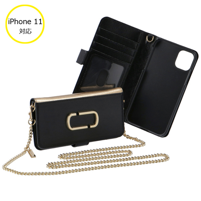 マークジェイコブス 2020年春夏新作 iphone11 ケース 手帳型 ショルダー付き SNAPSHOT サフィアーノレザー アイフォン M0016270 0032 003
