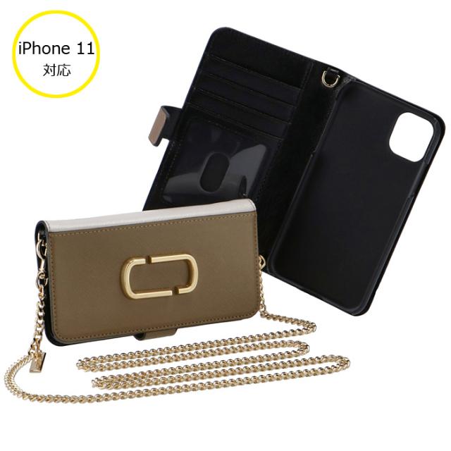 マークジェイコブス 2020年春夏新作 iphone11 ケース 手帳型 ショルダー付き スマホ サフィアーノレザー アイフォン M0016270 0032 064
