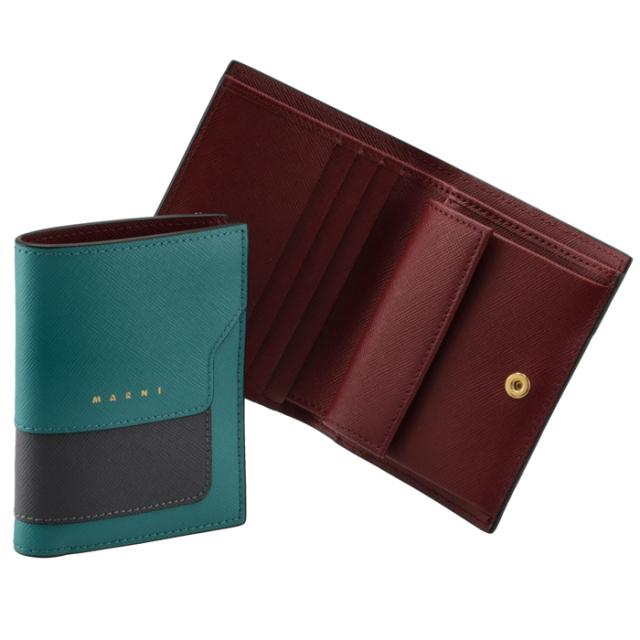 マルニ MARNI 2021年秋冬新作 財布 二つ折り ミニ財布 サフィアーノレザー 二つ折り財布 PFMOQ14U15 LV520 Z477N
