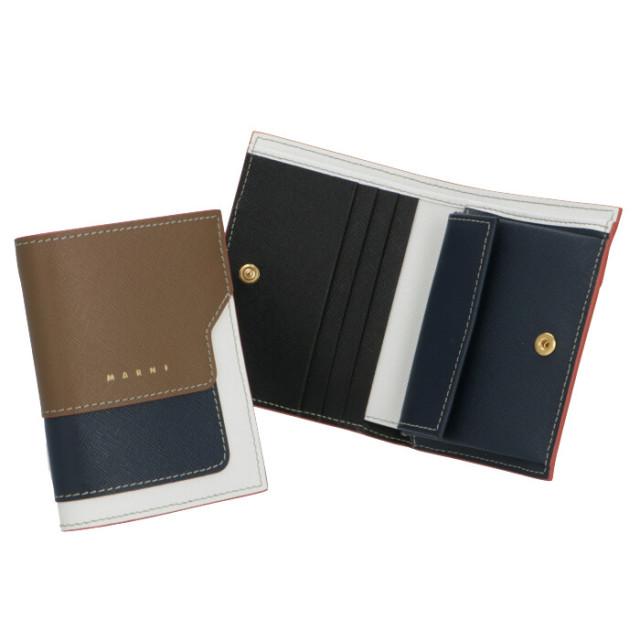 マルニ MARNI 2020年春夏新作 財布 二つ折り ミニ財布 サフィアーノレザー 二つ折り財布 PFMOQ14U21 LV520 Z320R