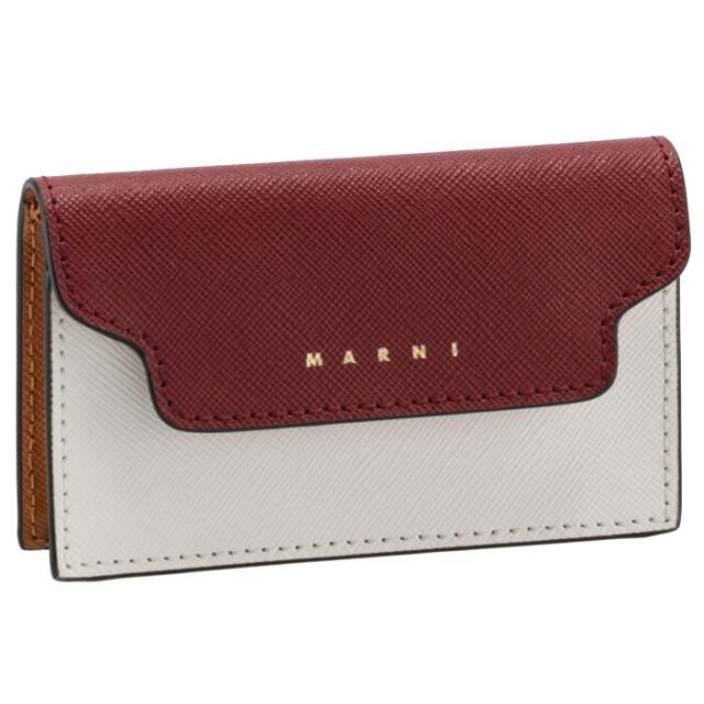 マルニ MARNI 2021年秋冬新作 カードケース サフィアーノレザー ホワイト×ダークレッド マルチカラー PFMOT05U21 LV520 Z475N
