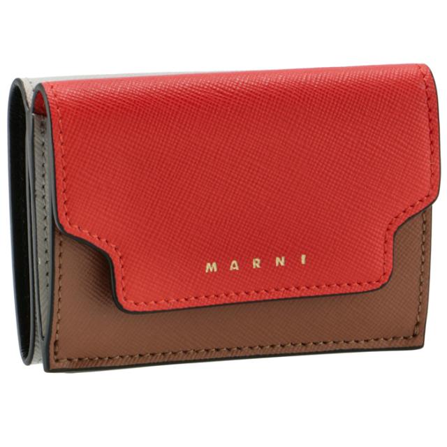 マルニ MARNI 2021年春夏新作 財布 三つ折り ミニ財布 サフィアーノレザー 三つ折り財布 PFMOW02U23 LV520 Z393N