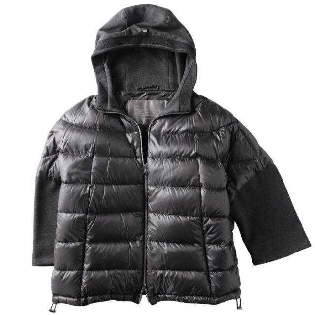 ヘルノ HERNO 2018年秋冬新作 ダウン  ジャケット ショート丈 8分袖 フード付き OVER JACKET CON CAPPUCCIO ダウンジャケット