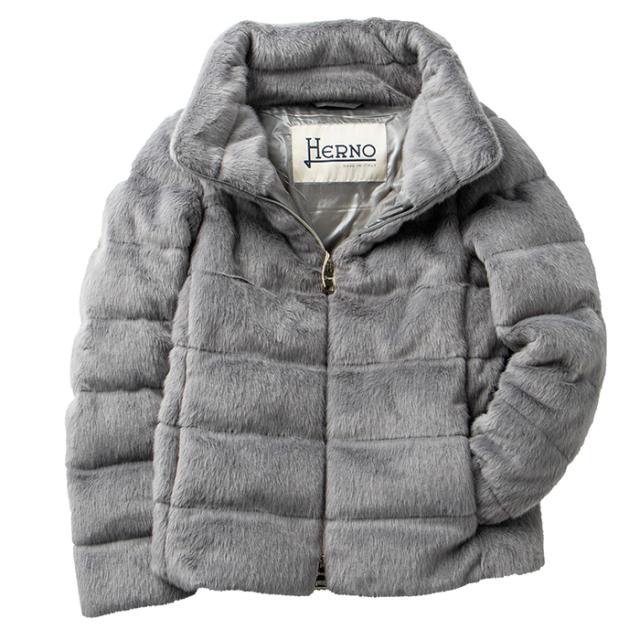 ヘルノ HERNO 2021年秋冬新作 ダウン レディース エコファー ショート ジャケット アウター グレー PI1166D 12354 9406