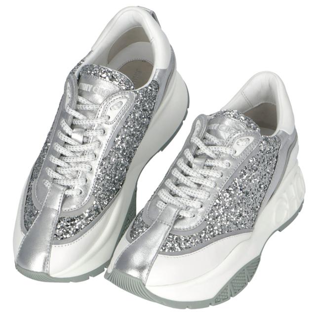 ジミーチュウ JIMMY CHOO RAINE グリッター カーフレザー スニーカー シューズ 靴 シルバーミックス RAINE CGC 0215【06-SS】